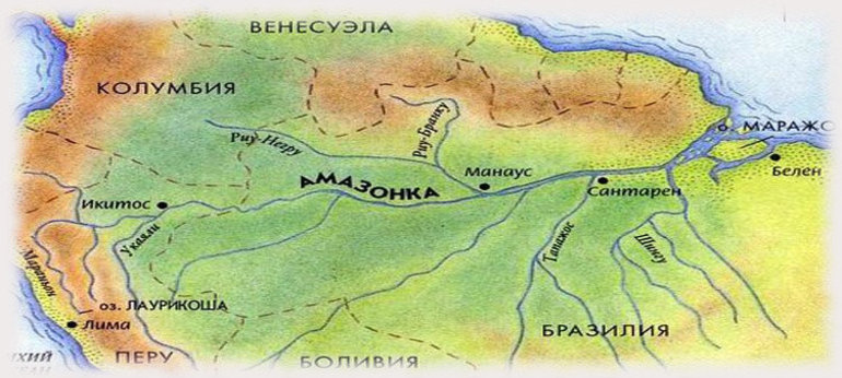 Река амазонка на карте