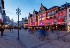 Illuminated Neuhauser Street and Karlsplatz Gate in Munich at th