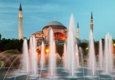 Hagia Sophia in Istanbul with illumination