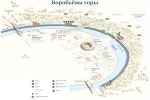 Воробьевы горы Москва, как добраться до смотровой площадки, фото и карта парка, достопримечательности, что посмотреть ночью на Воробьёвых горах